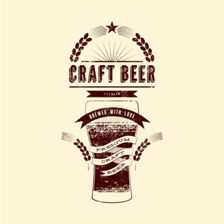 Craft beer label. Vintage grunge style beer poster. Vector illustration.