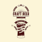 Craft beer label Vintage grunge style beer poster Vector illustration