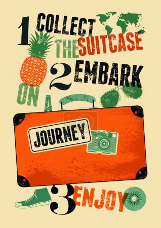 Illustration for Typographical retro grunge travel poster. Vintage design old suitcase with labels. Vector illustration. - Royalty Free Image