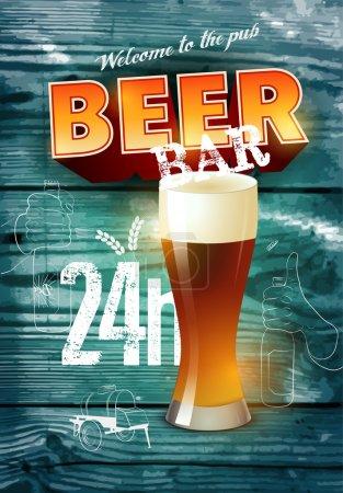 Illustration pour Ancienne affiche de bar à bière de style grunge sur fond en bois réaliste. Illustration vectorielle . - image libre de droit