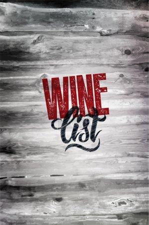 Illustration pour Typographie rétro grunge carte des vins design sur fond bois. Illustration vectorielle. Eps 10 . - image libre de droit