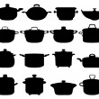 Black silhouettes of different pots and pans
