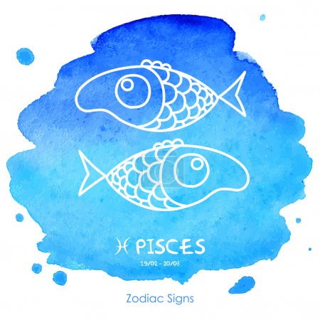 Illustration for Funny cute Pisces on a blue background watercolor - Royalty Free Image