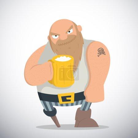 Illustration pour Pirate barbu chauve avec une jambe tenant une tasse de bière dans la main droite . - image libre de droit
