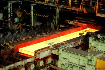 Hot rolling mill workshop at metal steel production factory