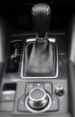 Top view of gear shift knob inside the car