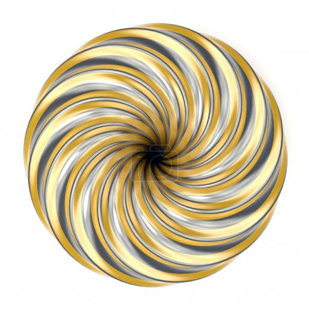 Abstract golden and silver spiral decoration. 3D