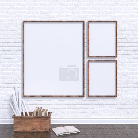 Mock up posters frames in art atelier with wooden bow full of old books, 3D