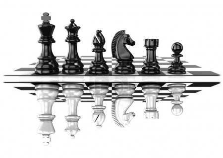 Chess black and white pieces, standing on board, mirrored. Isolated on white background