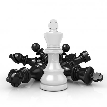 White king standing over fallen black chess pieces, isolated on white background