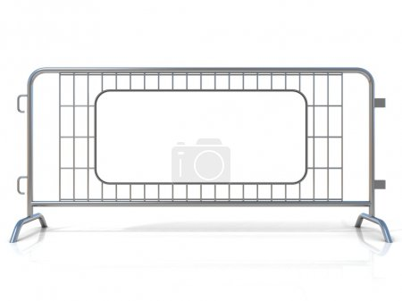 Photo for Steel barricades, isolated on white background. Front view, with sign board - Royalty Free Image