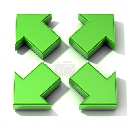 Green 3D arrows expanding. Top view, isolated on white background.