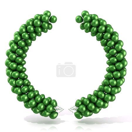 Photo pour Ballons verts arc laurier, isolé sur blanc - image libre de droit