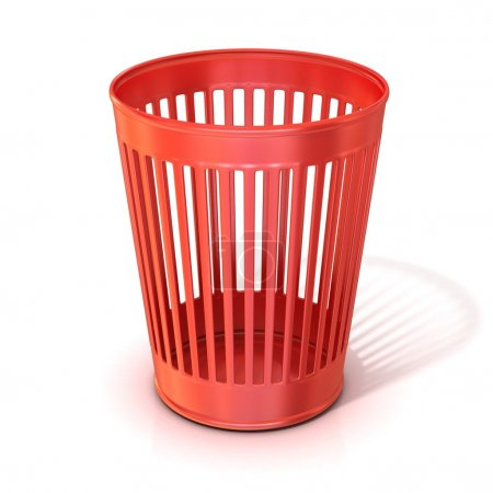 Empty red trash bin, garbage can isolated on white background