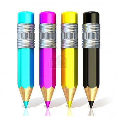 CMYK color pencils (cyan, magenta, yellow and black), isolated on white background, 3D concept of printing.