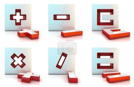 Plus-, Minus-, Multiplikations-, Dividenden-, Gleich- und klares Zeichen