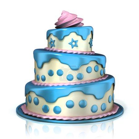 Three floor cake. Blue, pink and white cream