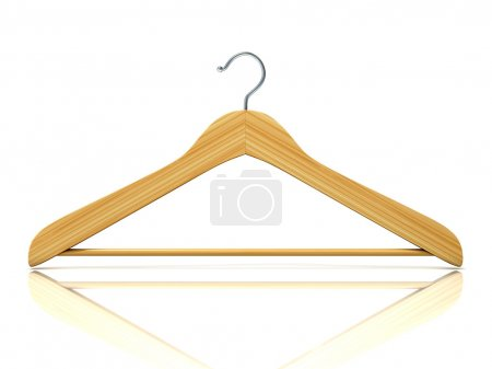 Photo for Wooden clothes hangers, 3D render isolated on white background. Front view - Royalty Free Image