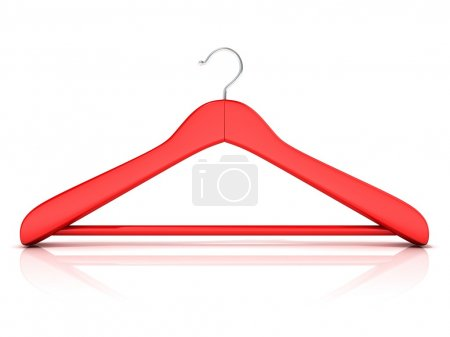Photo for Red clothes hangers, 3D render isolated on white background. Front view - Royalty Free Image