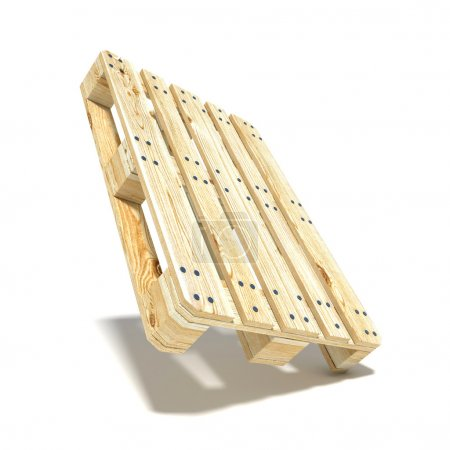 Euro pallet. Angled view. 3D render illustration isolated on white background