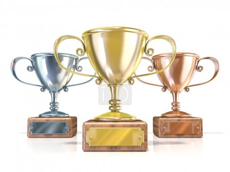 Gold, silver and bronze winners trophy cups