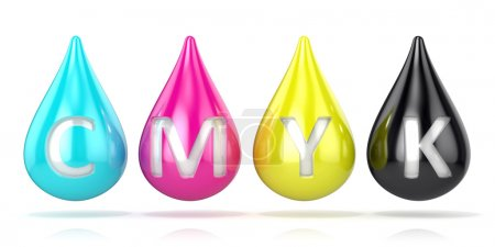 CMYK ink droplets sign. 3D render