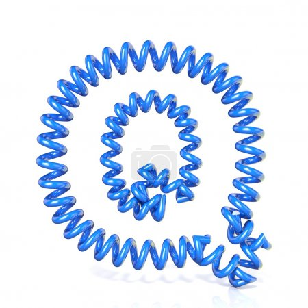 Spring, spiral cable font collection letter - Q. 3D
