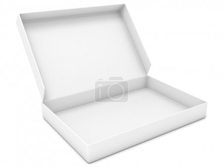 Photo for Empty white box. Side view. 3D render illustration isolated on white background - Royalty Free Image