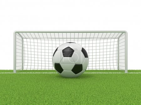 Football - soccer ball in front of goal gate on grass. 3D render