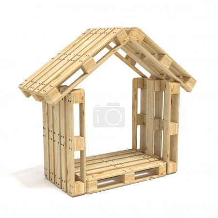 House made of Euro pallets. Side view. 3D render
