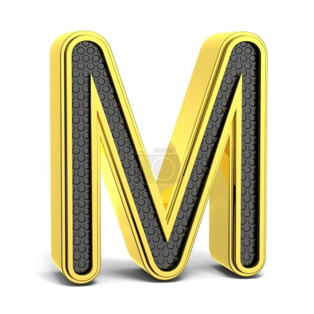 Golden and black round alphabet. Letter M. 3D