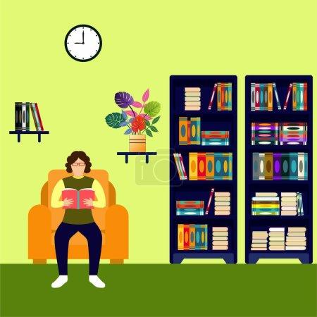 Illustration pour Activité de lecture de livres dans la bibliothèque, illustration vectorielle 11 - image libre de droit