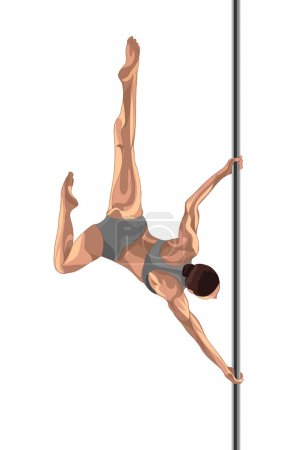 Pole dancer spin round the pole