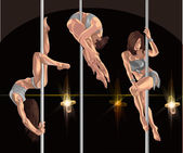 performance of strippers and pole dansers