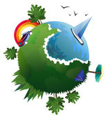 Vector illustration of flat design travel composition with green planet. Diverse landscape, seaside, rainbow.