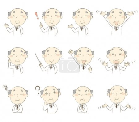 Set of poses, middle age doctor wearing white robe