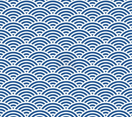 Blue and dark blue Japanese style wave pattern...