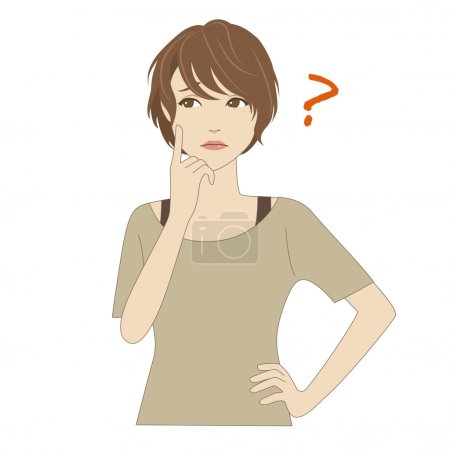 Illustration for A young woman thinking with her index finger on her cheek - Royalty Free Image