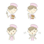 Young nurse with various expression and poses