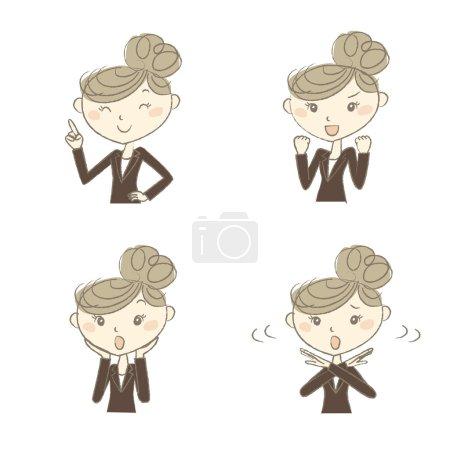 Illustration pour Une femme au travail portant une suite d'affaires avec différentes poses - image libre de droit