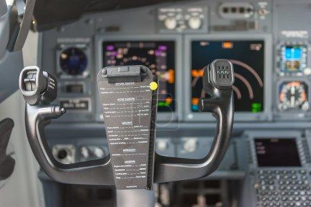 Control panel inside a passenger jet.
