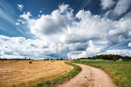Countryside road with dramatic sky