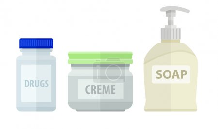 Set of bottles for bath soap and cream