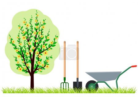 Gardening tree wheelbarrow spade and pitchfork