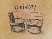 Whiskey in glasses on paper background engraved style