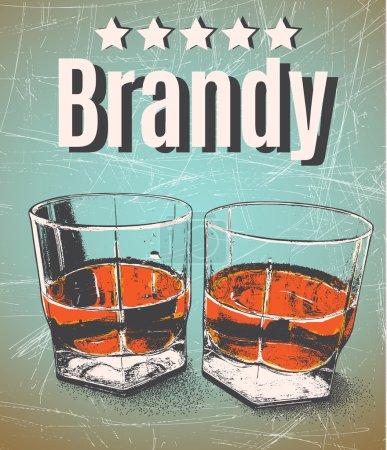 Illustration pour Brandy en lunettes sur fond grunge.Retro style.Premium qualité cinq étoiles - image libre de droit