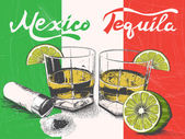 Tequila in glasses on Mexican flag background