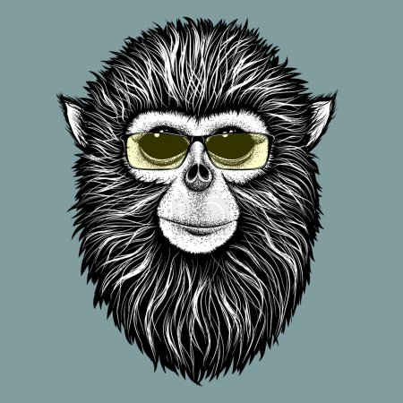Hipster monkey with yellow sunglasses