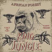 Vintage popisek s gorila