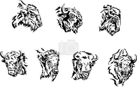 Illustration pour Buffalo, diverses postures de l'animalbison, buffalo, volière, herbivore bison safari, prairie, réservation, corne, Amérique ; gros ; blanc ; Bull ; quai ; venteux animal ; Savage ; animaux ; tête ; dessin ; silhouette ; vecteur ; photo ; Zoo ; préserver ; pépinière - image libre de droit